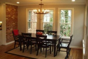 Kitchen expanasion leaving exposed brick allows for the addition of a large breakfast nook, Richmond VA