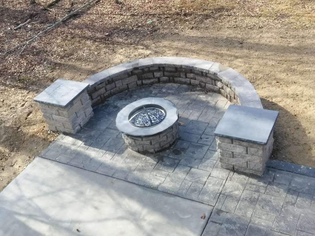 Stamped Concrete Patio and Stacked Stone Fire Pit Midlothian